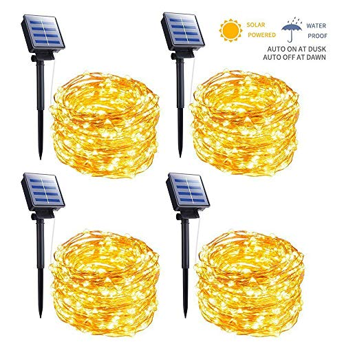 Outdoor Solar String Lights, 4 Pack 33FT 100 LED Solar Fairy Lights Waterproof Decoration Copper Wire Lights with 8 Modes for Patio Yard Trees Christmas Wedding Party Decor (Warm White)