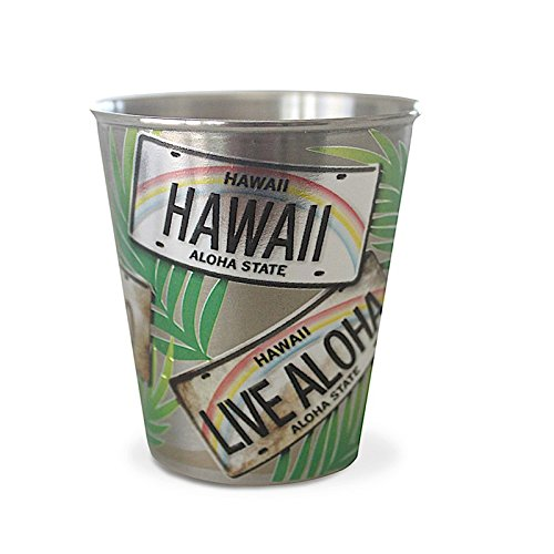 Hawaii Stainless Steel Shot Glass License Plate Palms ()