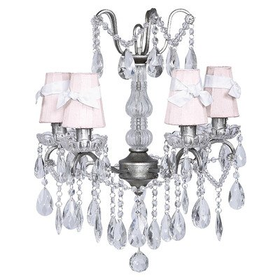 Petal Flower Sconce Shade - Jubilee Collection 78015-6121 4 Light Crystal Glass Center Antique Grey Chandelier with White/Pink Petal Flower Sconce Shade