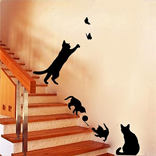 Best Choise Product 4 Cute Cats Playing Wall Stickers Kids Room Decorations 707. DIY Home Decals Vinyl Art Animals Poster adesivos de paredes 4.5]()