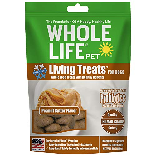 Whole Life Pet Living Treats For Dogs – Probiotic Treats to Promote Healthy Digestion – Peanut Butter Flavor, 3 Ounce