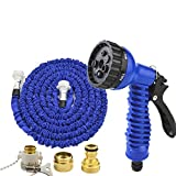 Telescopic water pipe Scalable High-pressure water gun brush truck 3 times the telescopic hose Adjustable 7 kinds Water flower Suitable for car watering Household , 3000cm