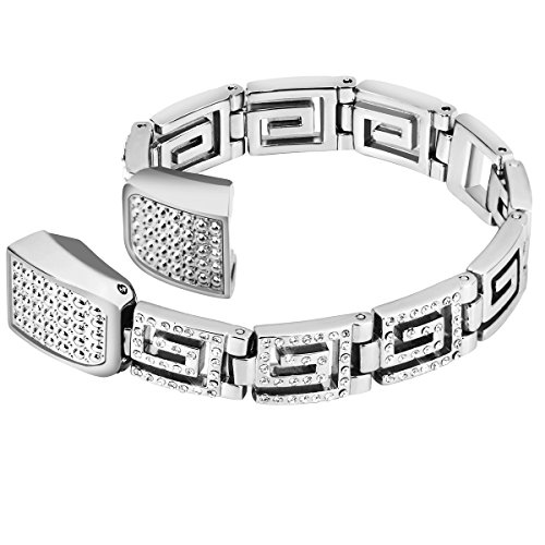 Greek Link (Metal Bands For Fitbit Alta HR and Alta, VOMA Design Stainless Steel Wristbands/Replacement Bands/Accessories for Fitbit Alta HR and Alta Style Greek Key Silver)