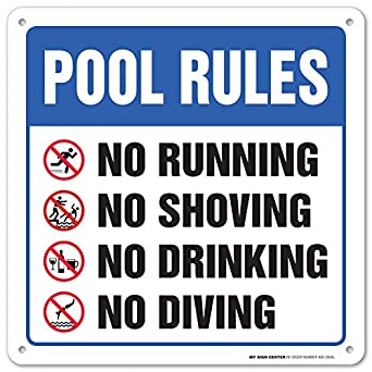 Swimming Pool Safety Rules Laminated Sign Pool Rules Warning Sign 12 X12 040 Rust Free