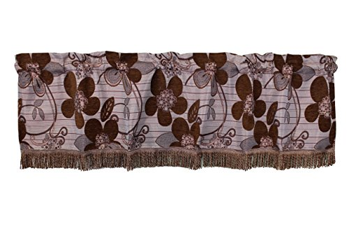 Violet Linen VL-68861-SUNFLOWER-VAL-BR Vintage Collection Luxurious Sunflower Window Valance, 60