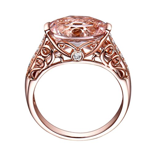 Balakie Luxury Ring Gemstone Rose Gold Diamond Hollow Design Fashion Wedding Ring (Rose Gold, ()