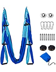 Tumax Yoga Swing Set, Aerial Yoga Hangmat Trapeze/Sling/Inversion Tool voor thuis of sportschool Fitness, verhoogde flexibiliteit en kernsterkte (plafondankers inbegrepen)