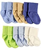 Luvable Friends 6 Pack Basic Cuff Socks, Blue, 6-18