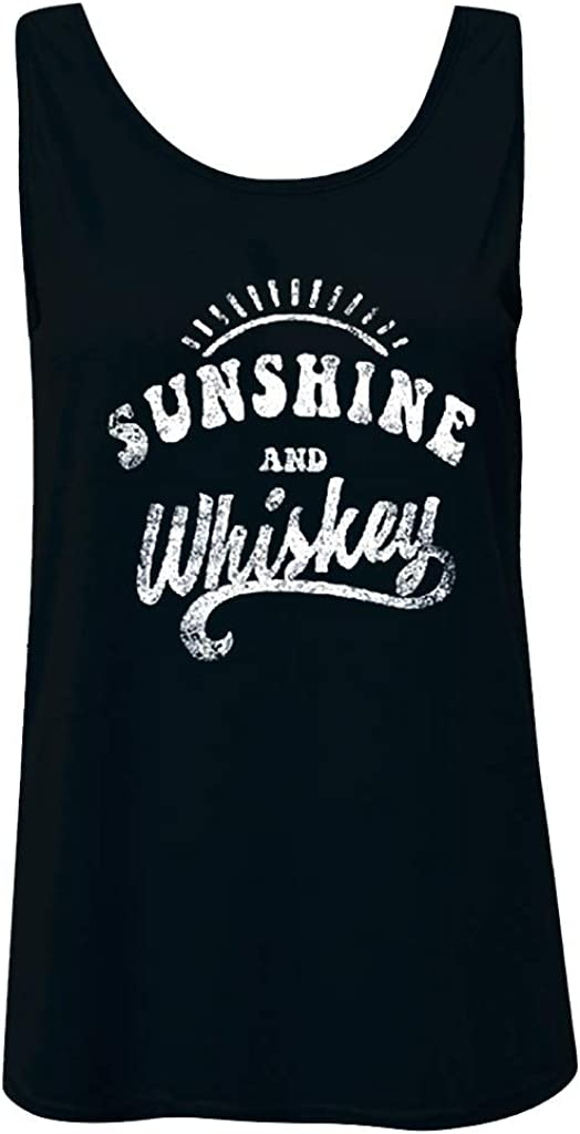 Eoeth Womens Sunshine and Whiskey Vest Blouse Round Neck Letter Printed Sleeveless Tanks Tops T-Shirt Tunic Camisole