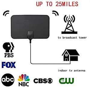 BoBoline HDTV Antenna,Ultra-thin Digital Indoor TV Antenna 25miles Reception Range with 10ft coaxial cable,Gain 3dBi,Free local channels for life