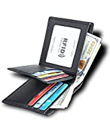 RFID Genuine Leather Trifold Wallets for Men with ID Window – Mens Wallet in Gift Box(8011Black)