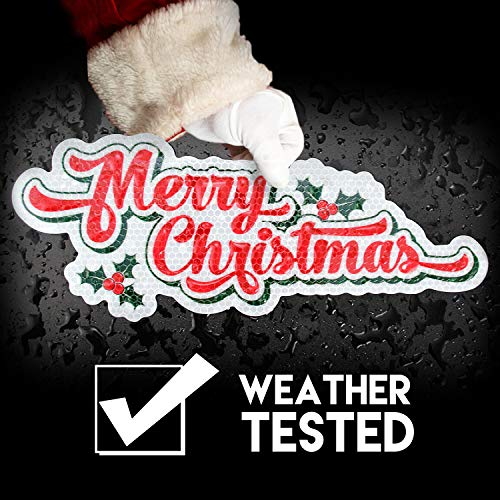 Bigtime Signs Merry Christmas Reflective Holiday Car Magnet with Printed Holly | Reflective Automotive Holiday Decoration | for Fridge or Car | 2 - Pack (Merry Christmas White 2 Pack)