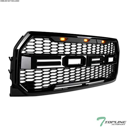 (Topline Autopart Black Raptor Honeycomb Mesh Front Hood Bumper Grill Grille With 3 Amber LED Lights ABS For 15-17 Ford F150 )