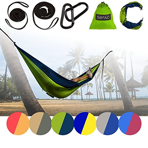 [Durable Hammock & Strap Bundle] Serac Classic Portable Single Camping Hammock with Suspension System - Perfect for the backpack, lightweight travel and camping (Forest Stream Blue/Green)