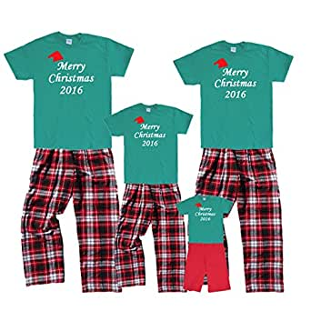 Merry Christmas 2016 Green Shirt w Red Hat Pant Set - Adult Large, S/S, CRB Pants (659)
