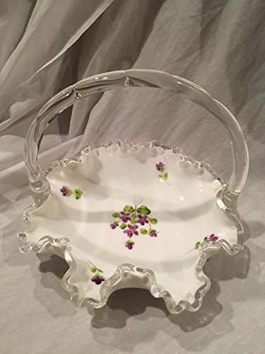 (Vintage Fenton Silver Crest Milk Glass Basket with Hand Painted Violets (7