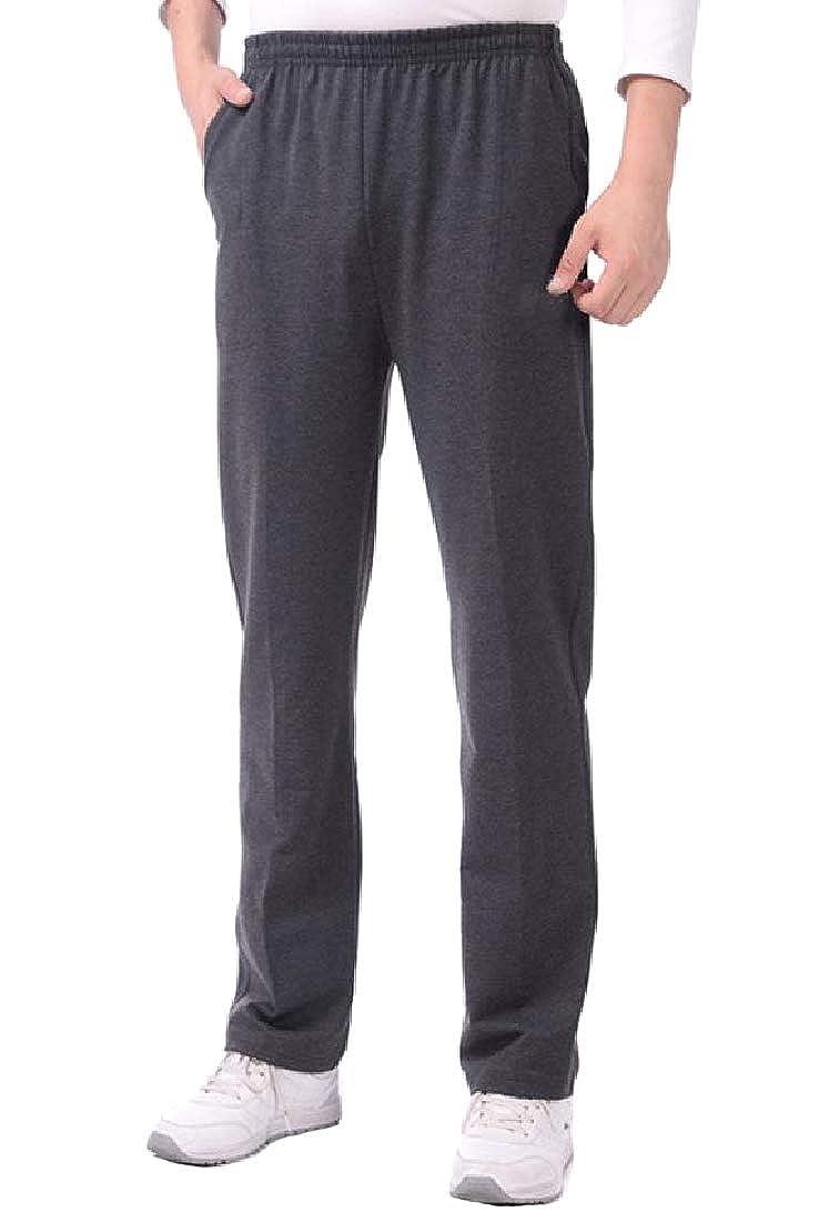 Abetteric Mens Straight-Fit Oversized Fleece Lined Sport Baggy Pants