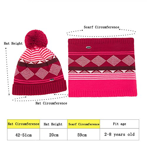 eaa7ade55 Amazon.com  YYF Kids Girs Boys Knit Soft Winter Warm Hat Scarf Suits ...