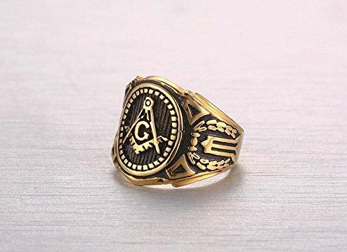 Amazon.com: Anillos Masónicos de Titanio Enchapado en Oro RI2345: Jewelry