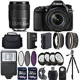 Canon EOS 80D Digital SLR Camera + 18-135mm IS USM Lens + 2 X 32GB + Telephoto + Wide-Angle Lens + Filters + Flash + Case + Tripod - International Version (No Warranty) (18-135-USM)