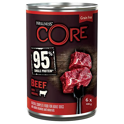 Wellness CORE 95 % Beef & Broccoli, Hundefutter nass, getreidefrei, mit hohem Fleischanteil, Rind & Brokkoli, 6 x 400 g