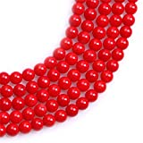 """Round Red Coral Gemstone Beads For Jewelry Making Loose Beads In Bulk Wholesale Beads Handmade Dyed Color One Strand 15"""" (5mm, GI3338)"""