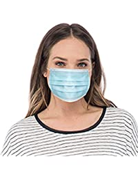 3 Ply Disposable Protective Mask, 50 Masks in Box, Blue, 19x10x8.8cm