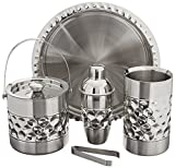 Image of Francois et Mimi Stainless Steel Bar Tools Set, Including Ice Bucket, Wine Chiller, Cocktail Shaker and Serving Tray