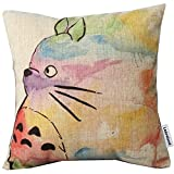 Urparcel Hand Painted Colorful Lovely Totoro Chinchilla Throw Pillow Case Decor Cushion Covers Square 18*18 Inch Beige Cotton Blend Linen