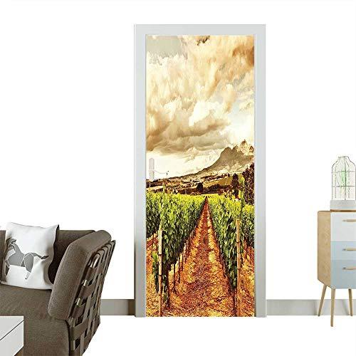 Homesonne 3D Door Decals Grape Valley Clouds Over Vineyard Natural Fruit Plantation in Autumn Garden Theme Self Adhesive Door DecalW17.1 x H78.7 INCH ()