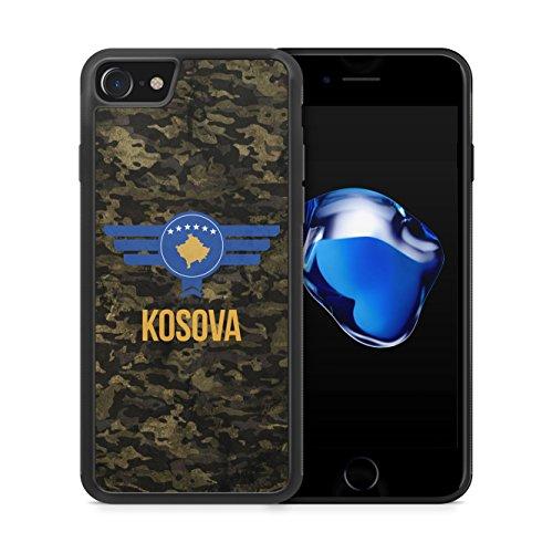 Kosova Kosovo Camouflage mit Schriftzug - Hülle für iPhone 7 SILIKON Handyhülle Case Cover Schutzhülle - Bedruckte Flagge Flag Military Militär