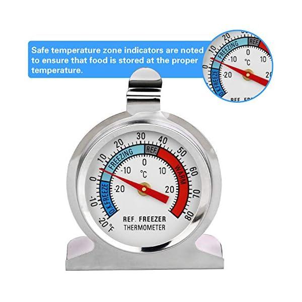 Thlevel Termometro da Frigo in Acciaio INOX Termometro per Congelatore e Frigorifero con Gancio per Appendere per Casa… 5