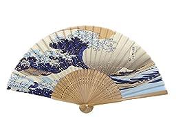 DawningView Japanese Handheld Fan, Ukiyo-e Art Prints (Great Wave Off Kanagawa, with sleeve and tassel)