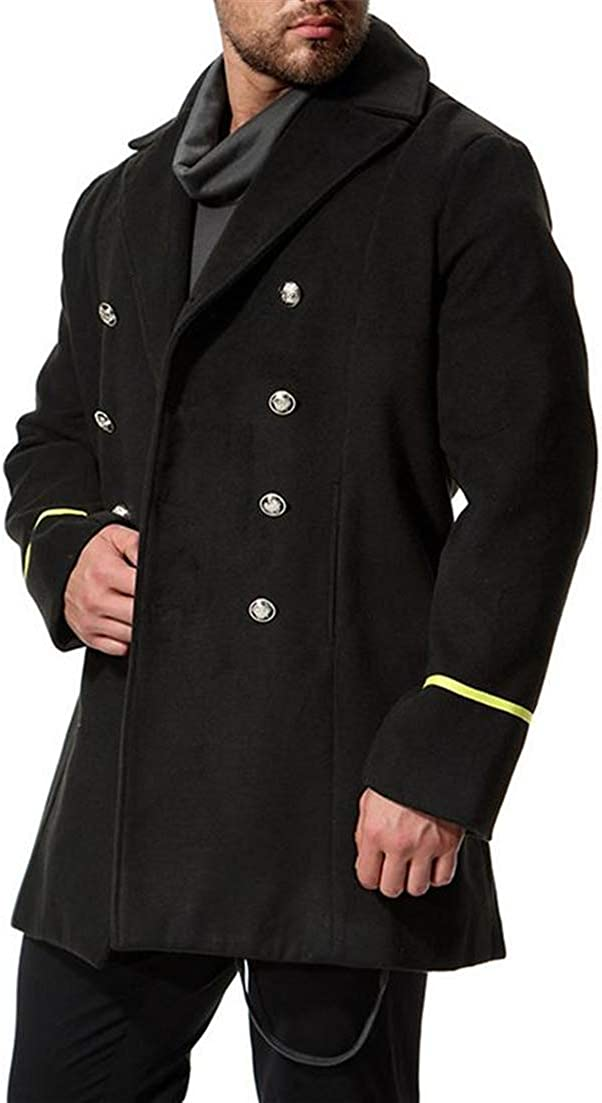 Conffetti Mens Woollens Long Jacket Lapel Double-Breasted Outdoors Mid Long Pea Coat