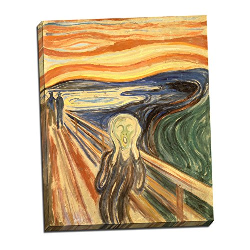 Edvard Munch The Scream Gallery Wrapped Canvas Giclee Print - Finished Size (W) 22'' x (H) 27.5'' [Gallery-Wrap] (S01-06T-Stretched-Border) - Enhanced Image