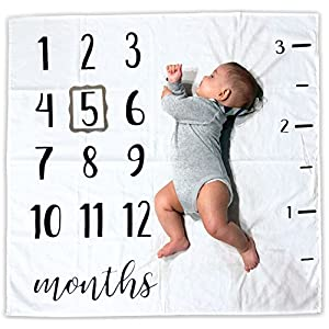 Baby Monthly Milestone Blanket   Includes Picture Frame and Ruler   100% Organic Cotton   1 to 12 Months   Best Baby Shower Gift   Photography Backdrop Photo Prop for Newborn Boy & Girl