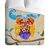 Deny Designs  Elizabeth St Hilaire Nelson Owl Always Love You Duvet Cover, Queen