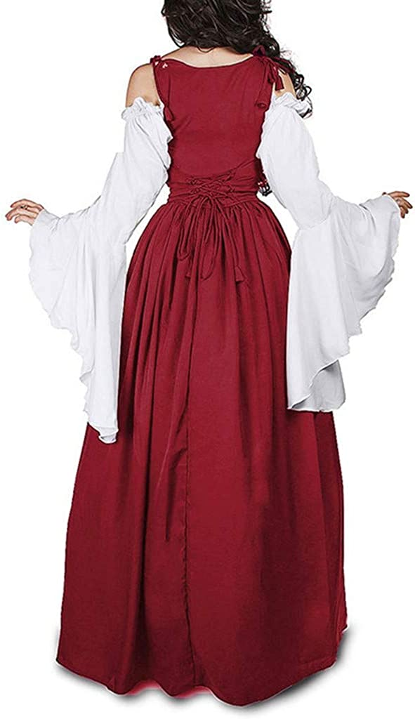 Ladies Bell Sleeve Bandage Corset Renaissance Dress {Off The Shoulder} Womens Vintage Elegante Dresses