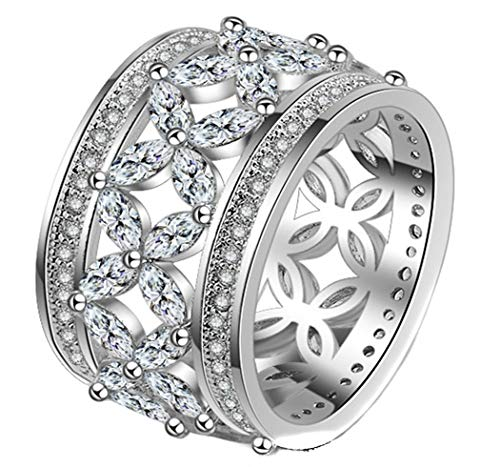 Womens Pretty Four-Leaf Clover Full Diamond Hollow Engraved Stainless Steel Rings,Size 8 ()