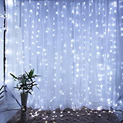 Fefelightup String Fairy Light Window Curtain Icicle Lights,9.8×9.8ft 300 Leds Daylight White (Update Safety Version)
