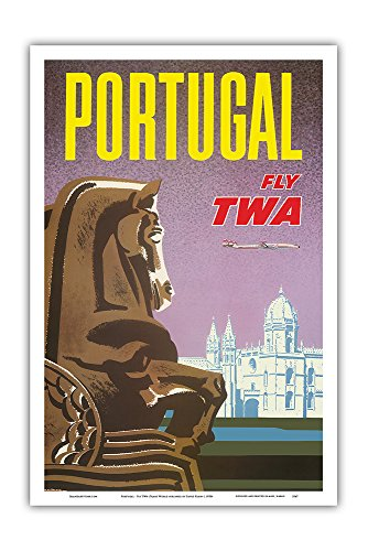 Jeronimos Monastery - Pacifica Island Art Portugal - Fly TWA (Trans World Airlines) - Jerónimos Monastery Lisbon - Vintage Airline Travel Poster by David Klein c.1950s - Master Art Print - 12in x 18in
