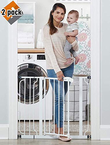 Regalo Easy Step 38.5-Inch Extra Wide Walk Thru Baby Gate, Includes 6-Inch Extension Kit, Pressure Mount Kit, Wall Cups and Mounting Kit, 2 Pack from Regalo