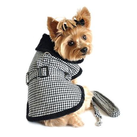 Amazon.com : Black and White Clic Houndstooth Dog Harness Coat ...
