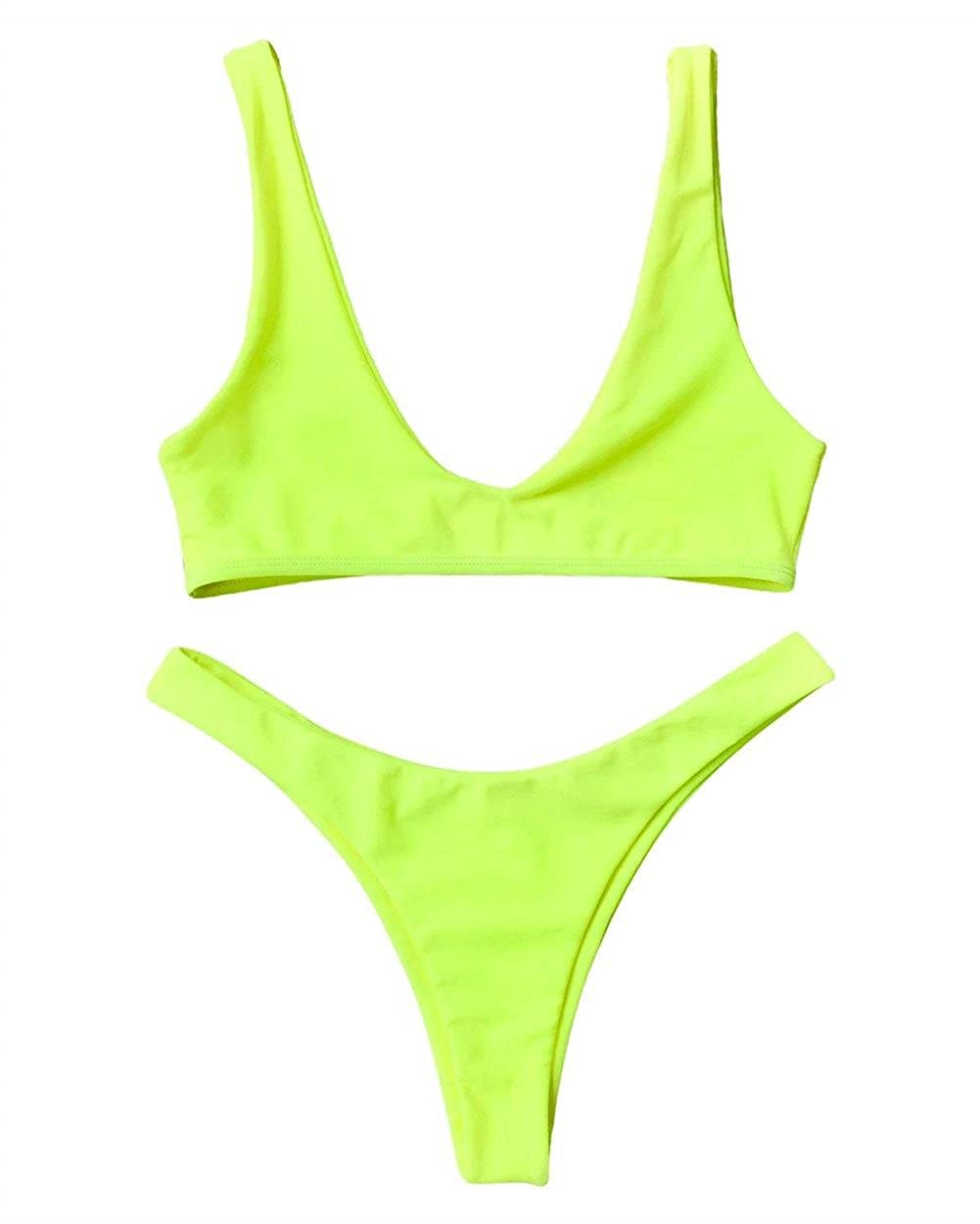 Women Padded Scoop Neck 2 Pieces Push up Swimsuit Thong Bikinis Sets
