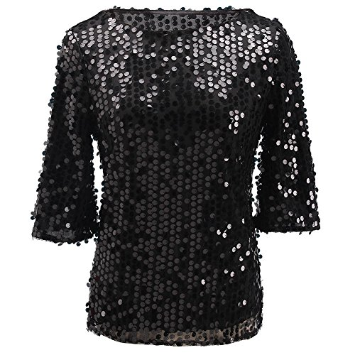PlayWorld Women Sexy 3/4 Sleeves Sequins Casual Tunic Shirts Blouse L Black