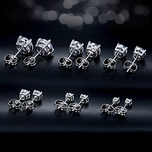 Outop Stud Earrings for Women Round Cubic Zirconia Stainless Steel Earrings Hypoallergenic Platinum Gold Plated 3-8mm (6 Pairs) by Outop (Image #5)