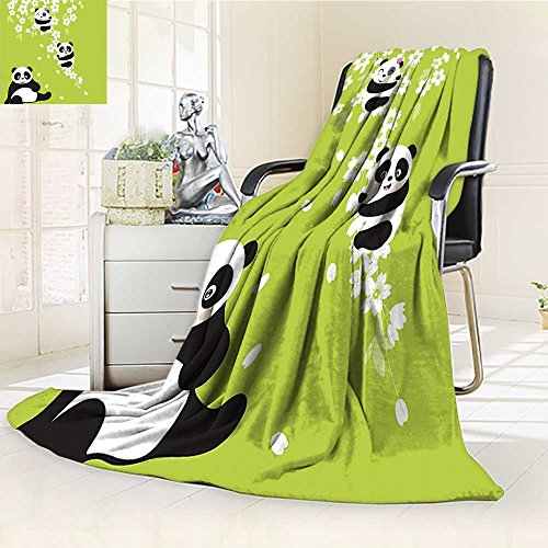 - YOYI-HOME Cotton Thermal Duplex Printed Blanket, Baby Bears in a Cherry Bloom Tree Branches with Mom Under The Tree Green Black White Soft and Breathable Cotton/W59 x H47