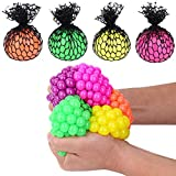 Totem World 12 Colorful Sewn Mesh Stress Balls - 2.4'' Squishy Fidget Toy Perfect for Kids and Adults Materials for Lasting Use - Squeeze Balls for Anxiety and Concentration - Great Party Favors
