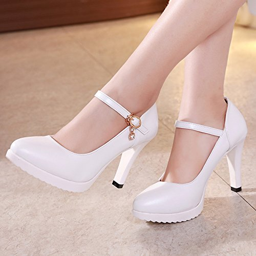 in tacco tacchi pelle 37 con alto alti scarpe i donna campo professionista con nero scarpe ammenda singolo a la il Luce bianco del punta per Hwz7SO