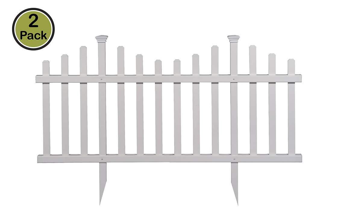 "Zippity Outdoor Products ZP19001 Madison Vinyl Picket Fence, White, 30"" x 56"" (4 X Pack of 2)"